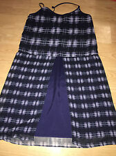 KOMAROV Dress SZ XL POLY SPAGHETTI STRAPS SPLIT FRONT PLAID/CHECK LAYERED