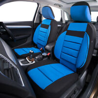 Universal 2 Front Car Seat Covers Black Blue Soft Sofa Airbag For SUV VAN Sedan