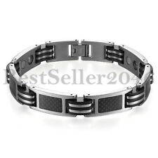 Stainless Steel Magnetic Therapy Carbon Fiber Pain Relief Mens Bracelet 8.5""