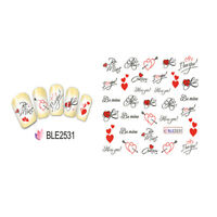 4Sheets Nail Art Water Decal Valentine Love Kiss Nail  Transfer Sticker