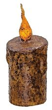 New Primitive/Country Twisted Flame Burnt Mustard Timer Pillar Candle 5 inches