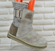 SOREL NEWBIE Womens Grey Suede Leather Winter Outdoor Boots Size 6 UK 39 EU