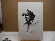 Frontiersman Hugh Cabot pen and ink drawing print 1972