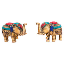 Indian Brass Small Mini Feng Shui Vastu Home Décor Elephant Pair Inlay Statue 3""
