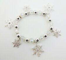 Christmas Snowflake Bracelet White Silver Clear Beads Stretch Adjustable Icon