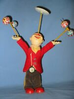 Alps Vintage Tin Litho & Composition Wind-Up Juggling Clown - used condition