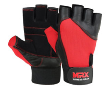 NWT MRX Fitness Gear Mens Leather Red Black Workout Gym Gloves Sz Large
