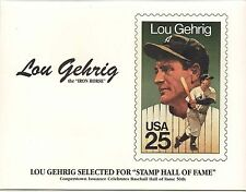 Lou Gehrig Cooperstown  Cachet 1989 first day of issue stamp Iron Horse
