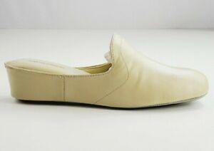 Daniel Green Glamour Womens Slippers 9.5 Kidskin Leather Bone Mule Wedge NEW