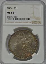 1884 graded MS64 Toned Morgan Silver Dollar NGC - Free Shipping