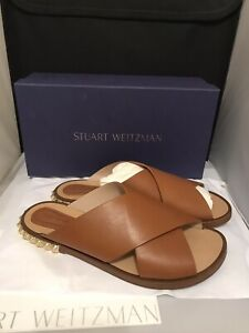 Stuart Weitzman Women's Rockrose Leather Studded Slide Sandals Size 10