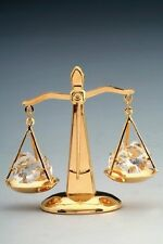 24k Gold-Plated Law Scales of Justice Balance Ornament with Swarovski Crystals