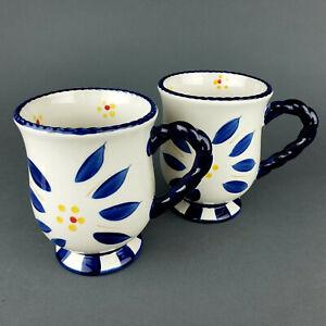 Temptations By Tara Coffee Mug Old World Blue Set Of 2 Ceramic 16 Oz