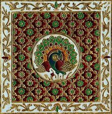 India Meenakari Painting Handmade Peacock Floral Pattern Minakari Decor Folk Art