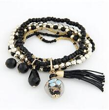 New Fashion Women Multilayer Pearl Gold Plated Tassel Handmade Bracelet Bangle