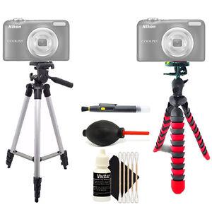 Tall Tripod + Flexible Tripod + Cleaning Accessory Kit for Nikon Coolpix A10