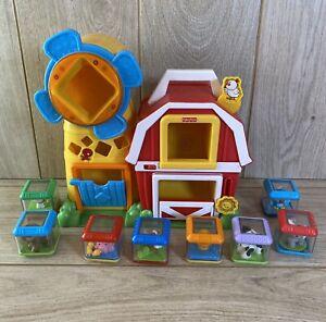 Fisher Price Peek-A-Boo Musical Farm Barn With Animal Blocks X 8