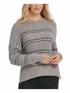 DKNY Womens Gray Striped Long Sleeve Sweater Size: M