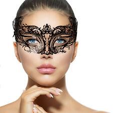 Delicate BLACK Lace METAL MASK Masquerade Venetian Filigree Clear Diamante NEW