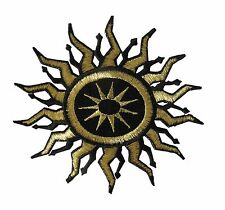 #3406 BLACK/GOlD SUN ASTROLOGY,OCCULTISM MAGICK METAL EMBROIDERY APPLIQUE PATCH