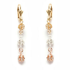Sevil 18K 3T- Gold Plated Round Drop Dangling Earrings With Swarovski Elements