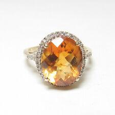 Estate 10K Yellow Gold 5.00 Ct Natural Tiger Orange Citrine Diamond Halo Ring