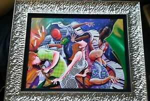 """"""" FLIPPED FLOPPED: JAZZ ON TOP """" by Marcus Glenn FRAMED signed MIXED MEDIA"""