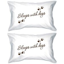 Couple White Pillow Cases - Sleeps with dogs pillows cover 100% cotton 1 Pair
