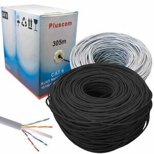 305M Cat6 Network Ethernet Cable RJ45 FTP Solid Lead 0.57mm CCA Boxed Outdoor UK