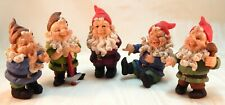 "5 Five Adorable Laughing Elves Gnomes Fairy Gardens 5"" Figurine Set"