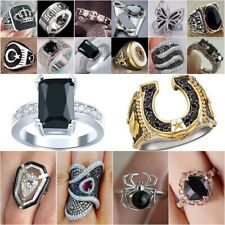 Fashion 925 Silver Black Sapphire Ring Wedding Bridal Women Jewelry Gifts Sz5-11