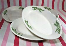 VTG Homer Laughlin Restaurant Ware Green Airbrush 4pc Oval Au Gratin Side Dishes