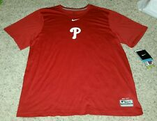 NWT NIKE DRI-FIT MEN'S XL MLB PHILADELPHIA PHILLIES RED SHORT SLEEVE SHIRT