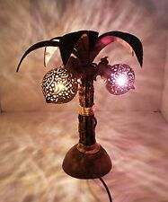 Wooden Three Lamps Palm Coconut Shell Woods Night Light Living Room Bedroom