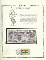 Ghana Banknote  10 Cedis 1984 P 23 UNC with UN FDI FLAG STAMP Prefix A/1
