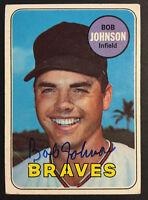 Bob Johnson Braves Signed 1969 Topps Baseball Card #261 Auto Autograph 2
