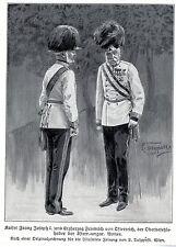 1914 * Kaiser Franz Josef I. & Erzherzog Friedrich v.Österreich * antique print