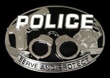 Police Badge Belt Buckle Policeman Gun Handcuff Service Buckles