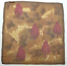"HALSTON Chiffon Brown/Red Autumn Motif 34"" 100% Silk Scarf"