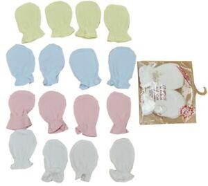 2 Pair Baby Scratch Mittens Mitts Pink Blue White Cream Newborn 100% Cotton