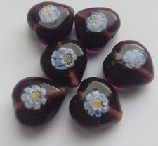 6 Handmade Lampwork Beads, Purple Floral Heart. Jewellery Making/Crafts