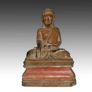 ANTIQUE SEATED NICHE BUDDHA CARVED WOOD BURMA SOUTHEAST ASIA BUDDHISM 19TH C.