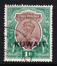 KUWAIT 1929-37 1r CHOCOLATE & GREEN SG 25 FINE USED.