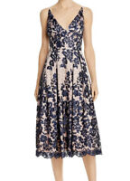 NWT Eliza J Women's Lace Pleat Cocktail Dress Navy Size 8