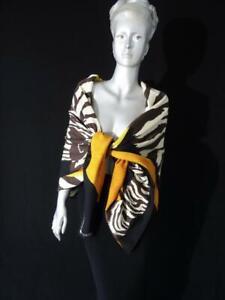 HERMES cashmere/silk shawl ZEBRA PEGASUS châle carre Alice Shirley in BLACK