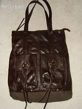 "Rip Curl Brand Large Brown Cotton & Vinyl Tote Satchel Handbag - 15"" x 18"""