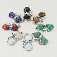 assorted natural gemstone beads charms stone cat pendant agate lapis malachite