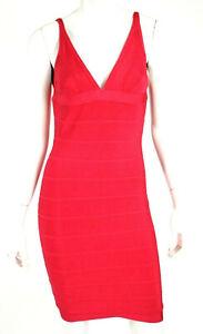 HERVE LEGER Rose Red Fuchsia V-Neck Sleeveless Bandage Dress M