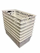 Basket with Bubble Pattern Set of 3 Plastic Narrow Long
