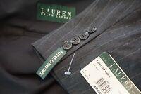 Lauren Ralph Lauren Total Comfort Gray Pinstriped Wool 2 Pc Suit Sz 46L $295